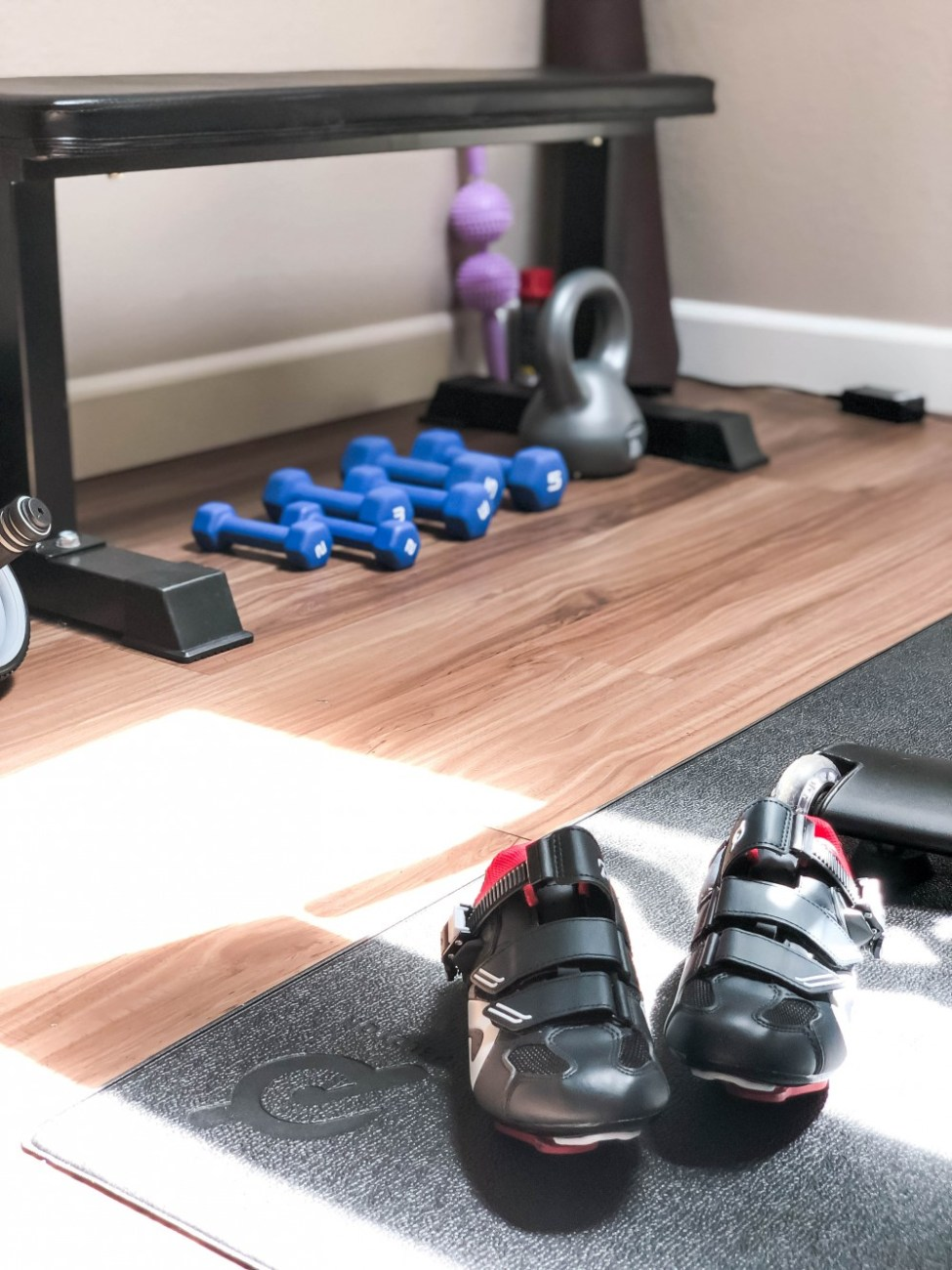 Sharing an honest review of my Peloton bike as well as my mini at-home gym reveal! You don't need a ton of space in your home to have a dedicated workout area and I'm going to prove it to you! Click on over to the post to check it out! #pelotonbike #pelotonbikereview #athomegym #athomeworkouts #bbg