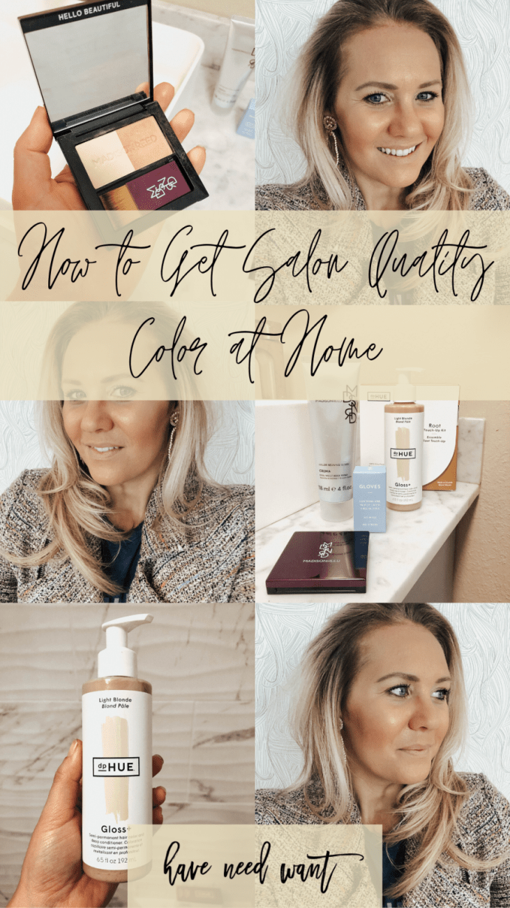 How to Get Salon Quality Color at Home - Sharing two of my favorite hair care brands, Madison Reed and dpHue, for at home root touch up and concealing gray hair. Click over to the blog to check out the post! #haircare #roottouchup #saloncolorathome #homehaircoloringkits