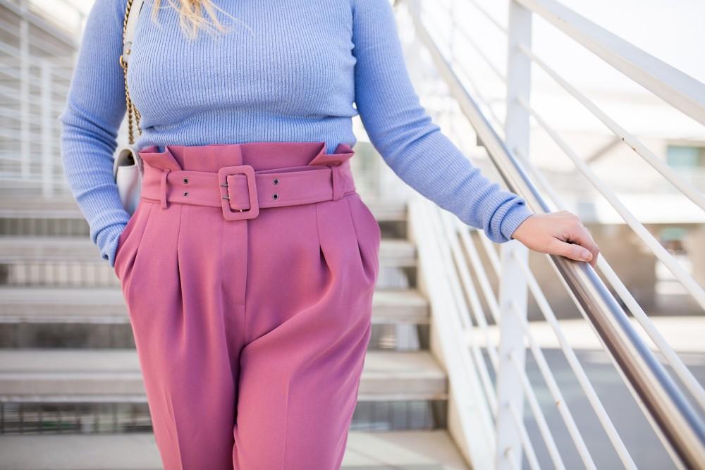 detail shot of paperbag waist pants and belt