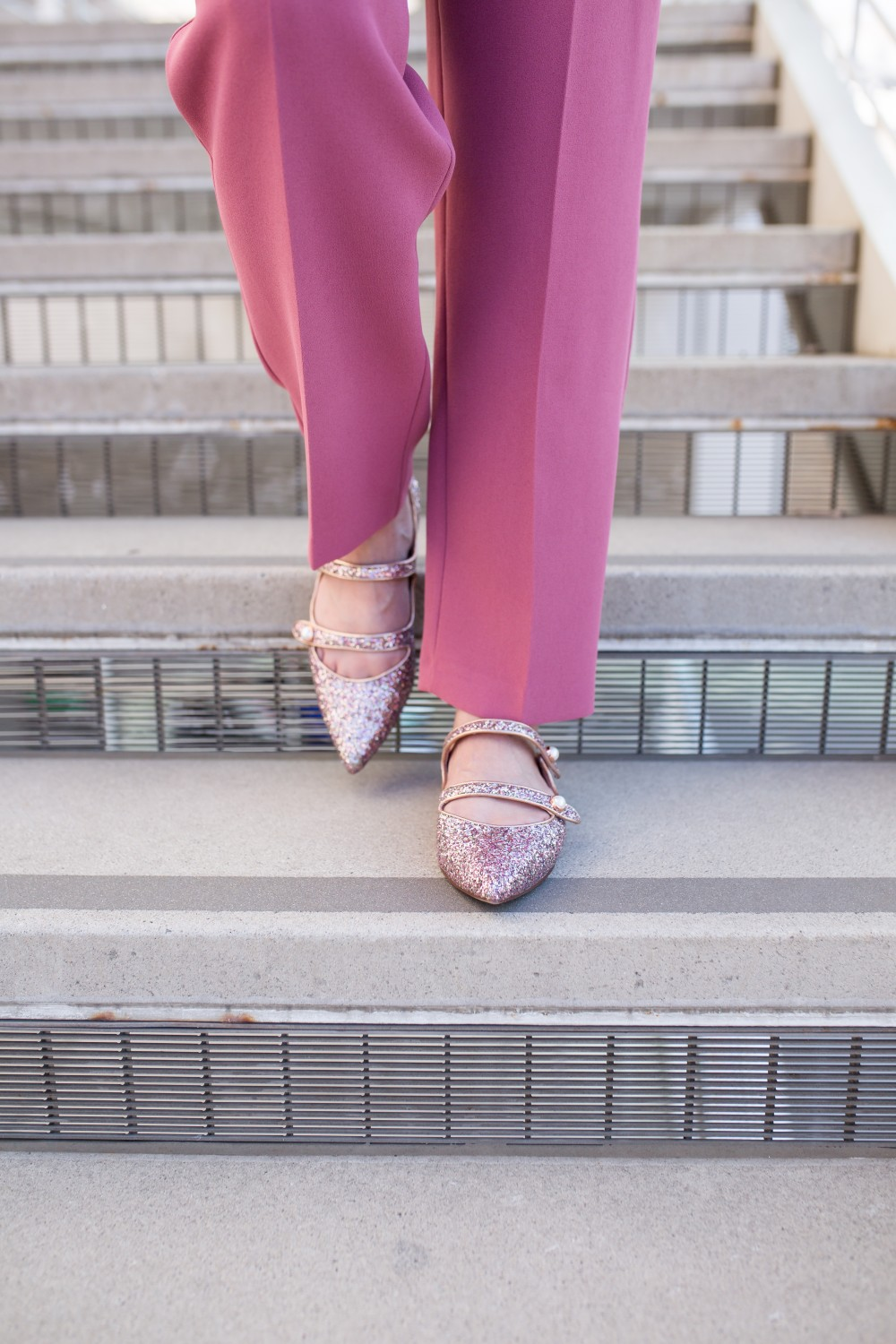 sparkle flats and blush pink pants