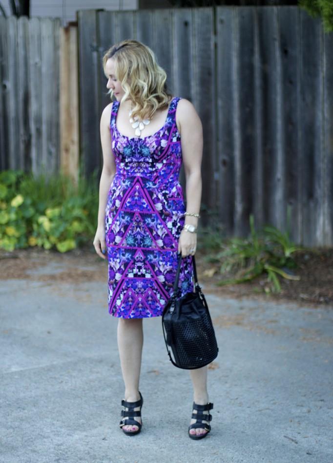 Geometric floral print dress