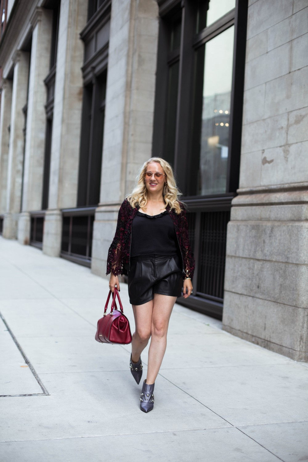 Lace Bomber Jacket-Kobi Halperin for Macy's-NYFW Street Style-NYFW SS18-Outfit Inspiration-Faux Leather Shorts-BCBG-Fall Fashion-Donald Pliner Booties-Geene Boots from Donald J Pliner-Have Need Want 13