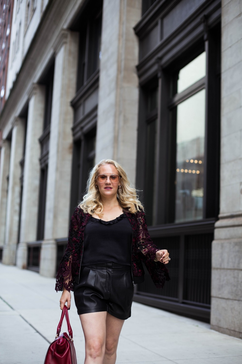 Lace Bomber Jacket-Kobi Halperin for Macy's-NYFW Street Style-NYFW SS18-Outfit Inspiration-Faux Leather Shorts-BCBG-Fall Fashion-Donald Pliner Booties-Geene Boots from Donald J Pliner-Have Need Want 8
