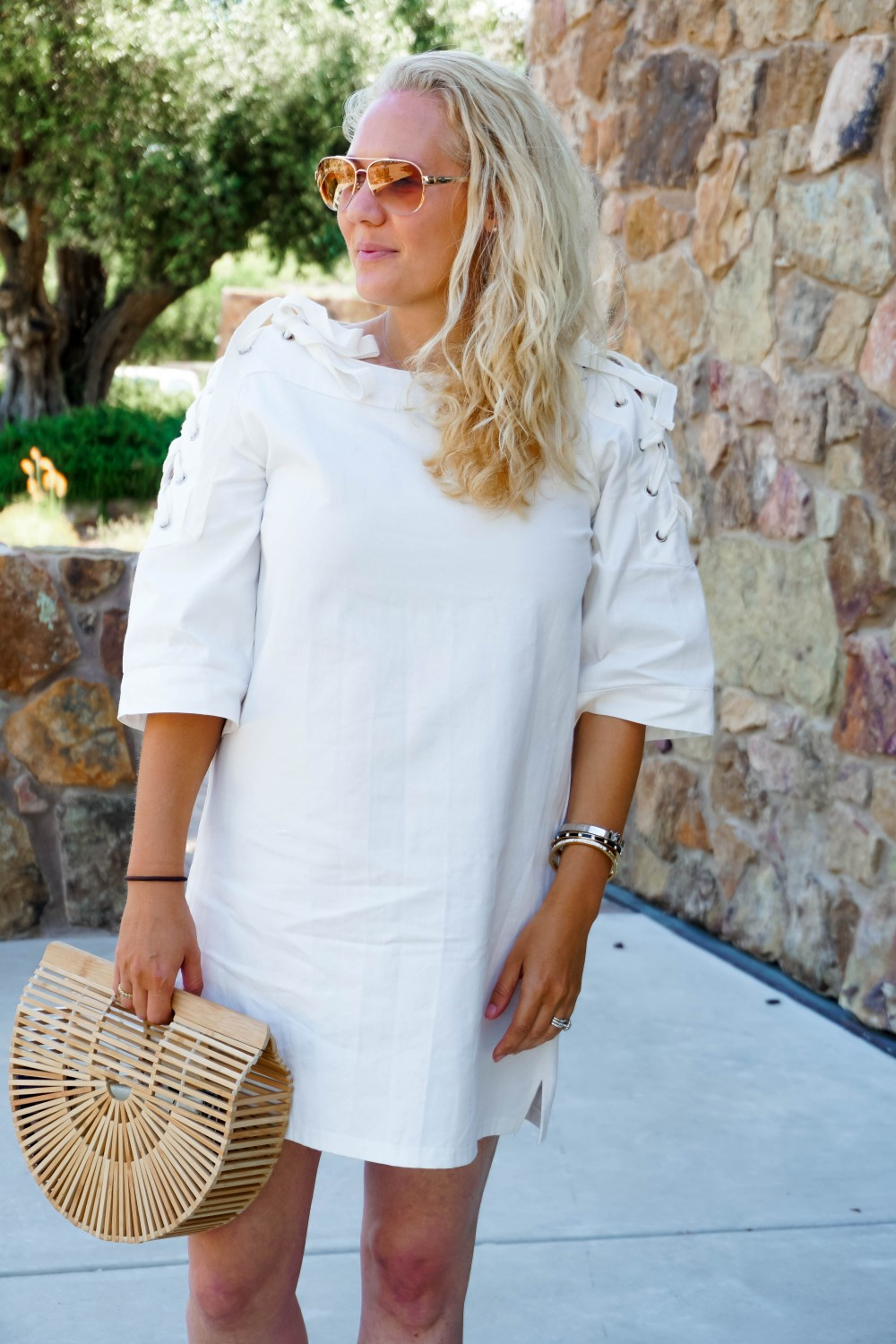 Lace-Up White Denim Dress-JOA Denim Dress-Summer Style-Bijou on the Park-Have Need Want-Outfit Inspiration-Mom Style 2