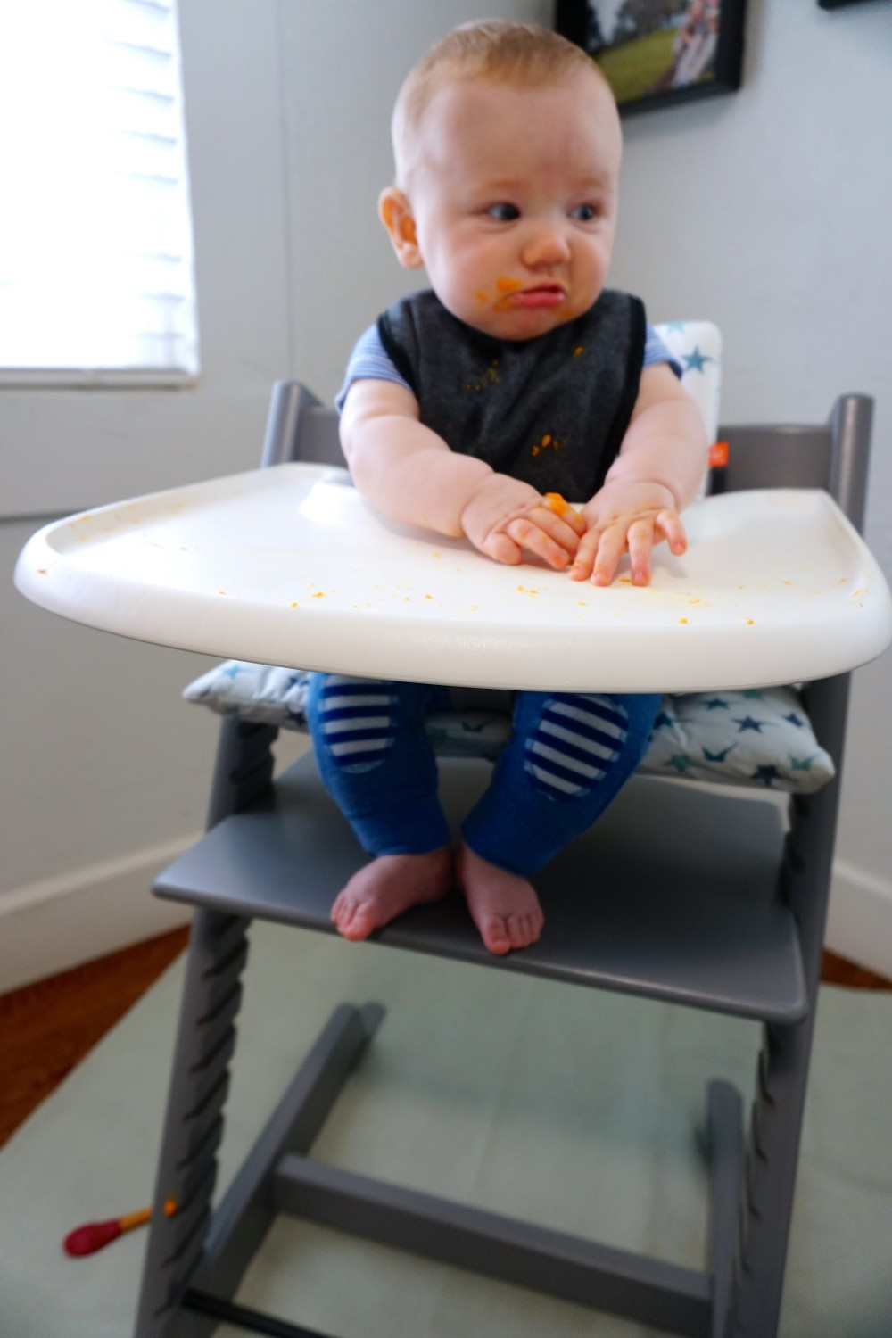 Mason's First Food Made Easier with Gathre Floor Mat-Avanchy Bamboo Spoon-Stokke High Chair-Gathre Mat-Have Need Want 2