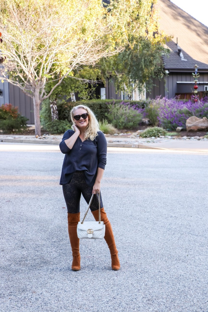 Sharing my main tip for styling leggings for fall on Have Need Want. #momstyle #fallfashion #leopardprintleggings #spanxleggings