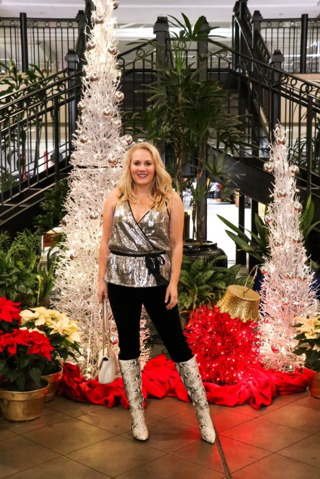 NYE outfit inspiration on Have Need Want today! Wearing a sequin cami and my velvet leggings with snakeskin print boots for a festive look! Head to the post for outfit details! #NYE #NYEoutfit #outfitinspiration #holidaystyle