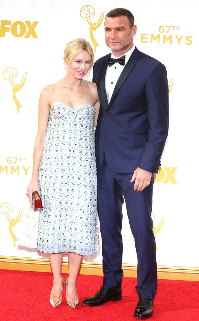 Naomi Watts and Liev Schreiber-Christian Dior Couture-Calvin Klein Suit-2015 Emmys-Best Dressed List-A-List Stars-Red Carpet