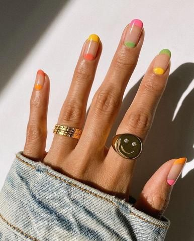 Neon nails with negative space
