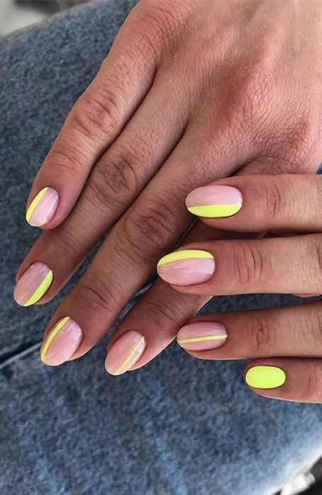 Neon yellow manicure for summer