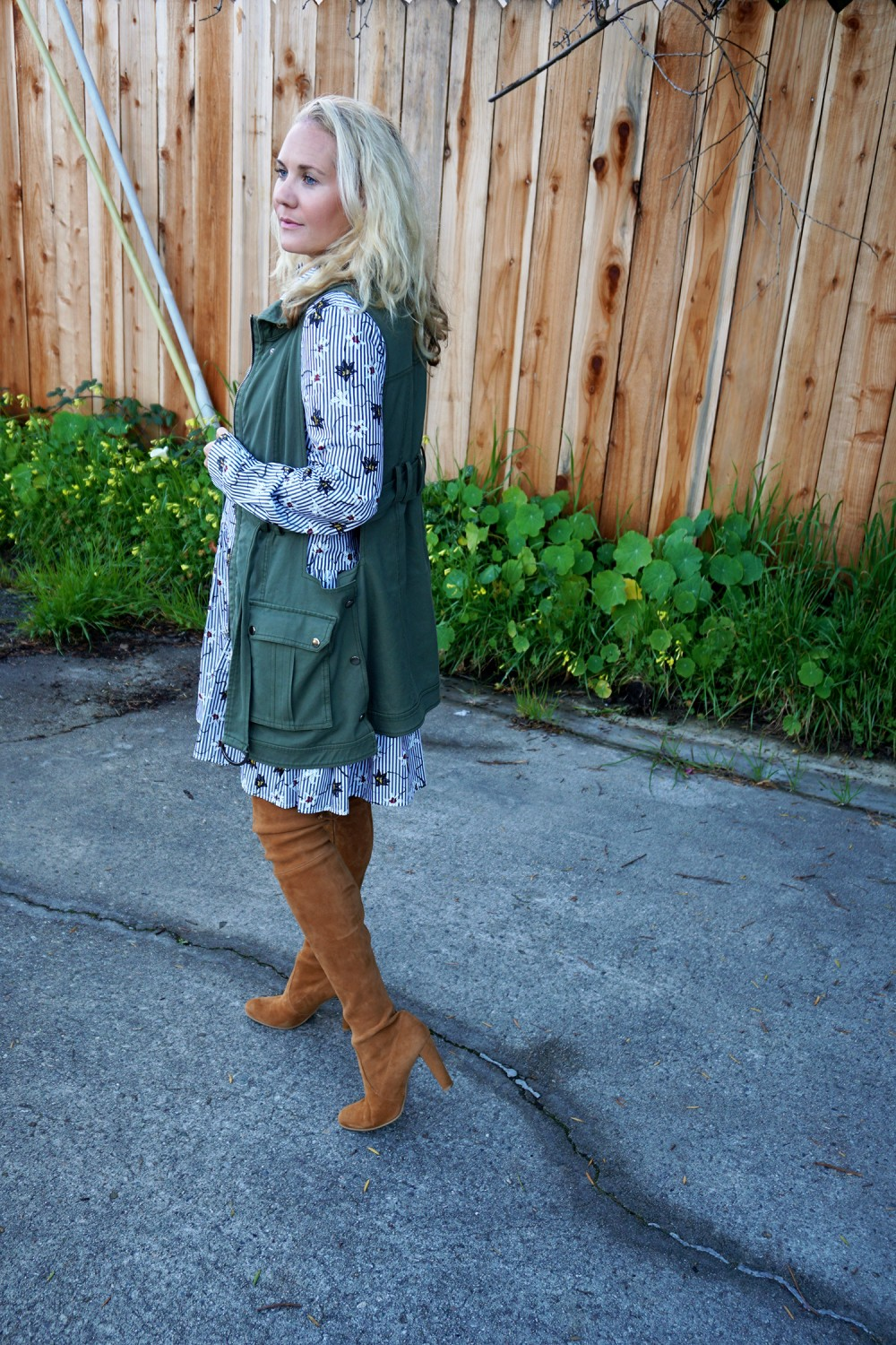 Opening Ceremony Pinstripe and Floral Shirtdress-Spring Style-Outfit Inspiration-Bay Area Fashion Blogger-Stuart Weitzman-Highland Boots-Have Need Want 11