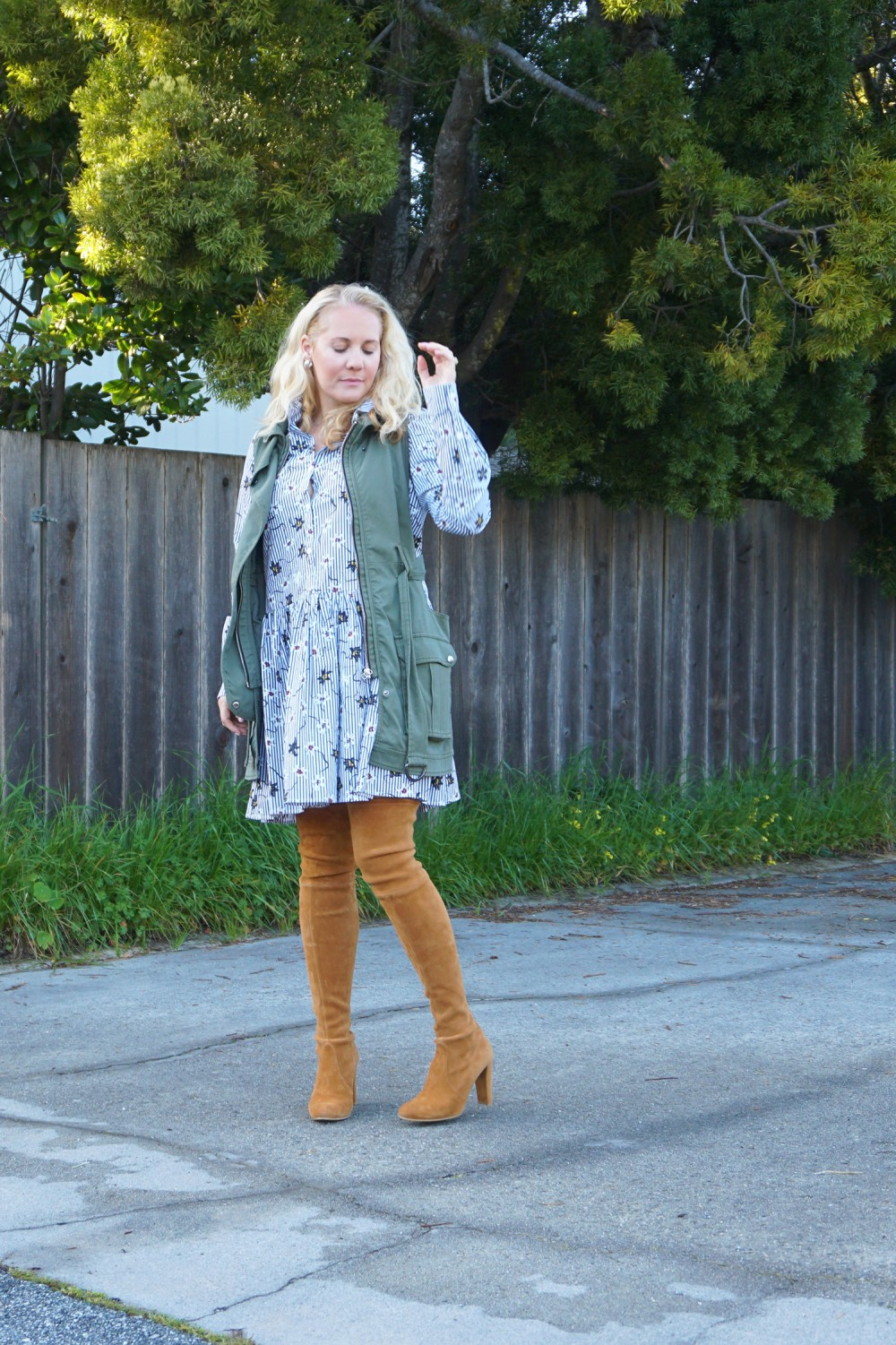 Opening Ceremony Pinstripe and Floral Shirtdress-Spring Style-Outfit Inspiration-Bay Area Fashion Blogger-Stuart Weitzman-Highland Boots-Have Need Want 13