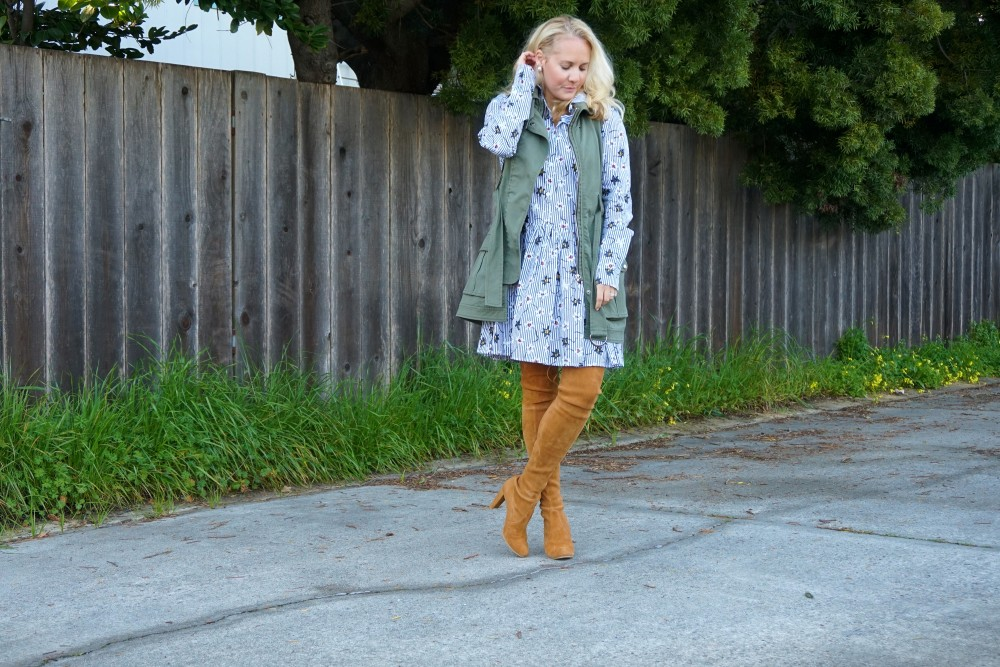 Opening Ceremony Pinstripe and Floral Shirtdress-Spring Style-Outfit Inspiration-Bay Area Fashion Blogger-Stuart Weitzman-Highland Boots-Have Need Want 2