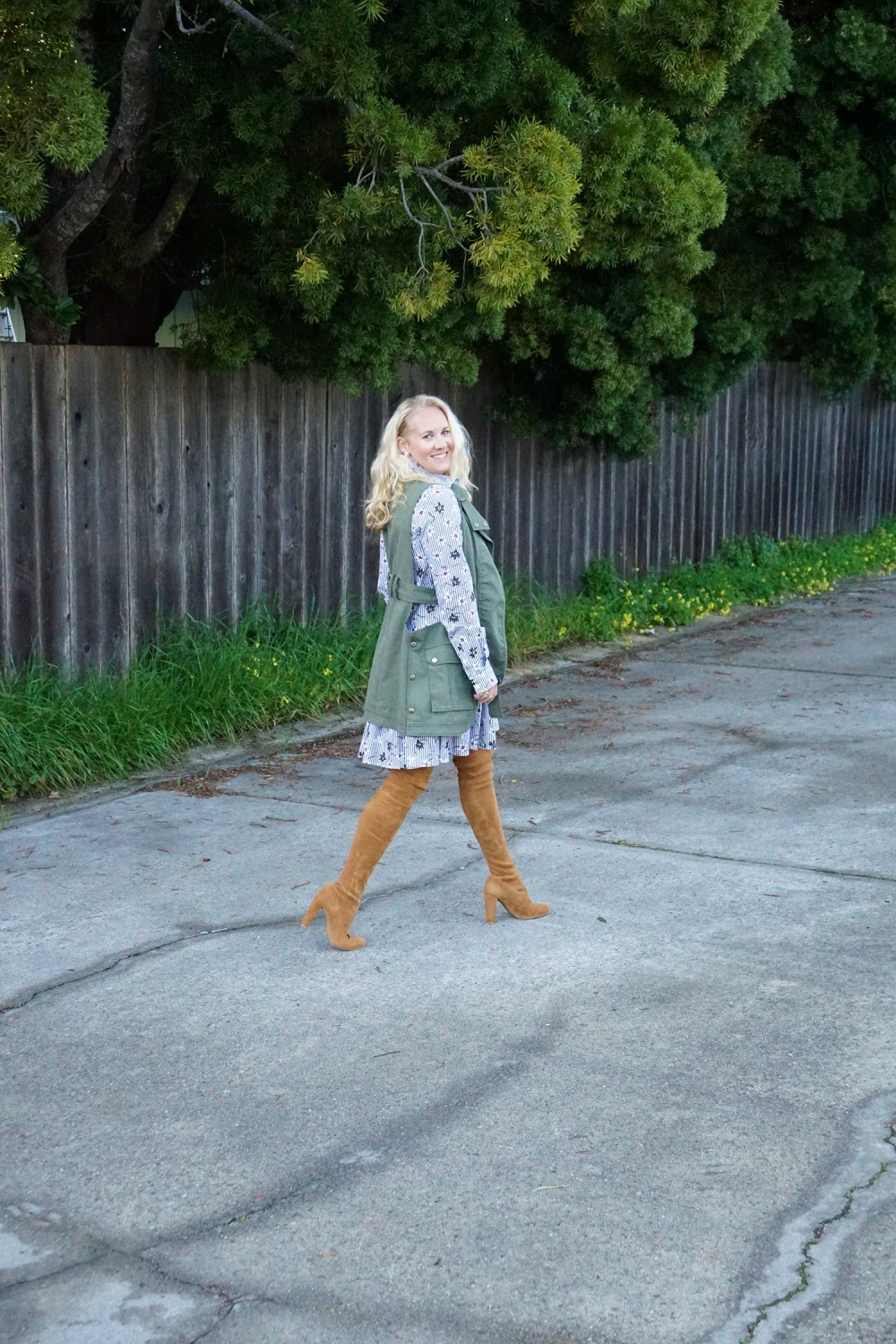 Opening Ceremony Pinstripe and Floral Shirtdress-Spring Style-Outfit Inspiration-Bay Area Fashion Blogger-Stuart Weitzman-Highland Boots-Have Need Want 6