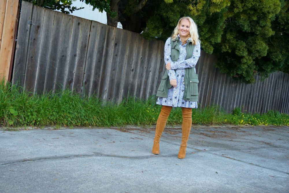 Opening Ceremony Pinstripe and Floral Shirtdress-Spring Style-Outfit Inspiration-Bay Area Fashion Blogger-Stuart Weitzman-Highland Boots-Have Need Want
