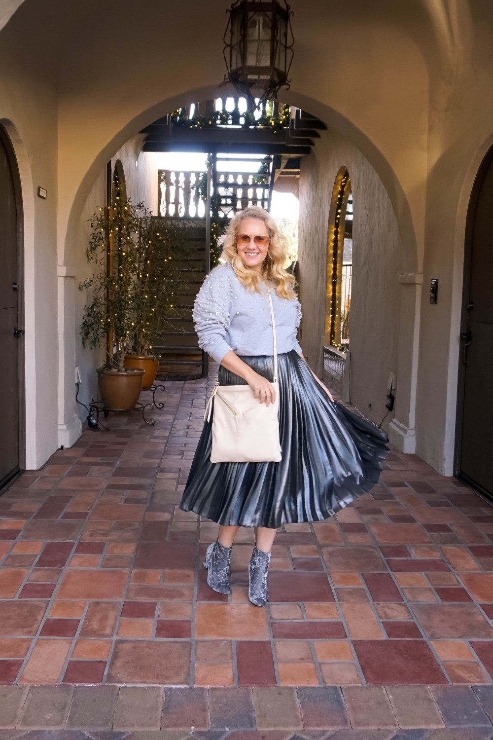 Pearl Embellished Sweatshirt, Monochromatic Outfit, Grey-tones, Metallic Pleated Skirt, Crushed Velvet Booties, Festive Outfit, Holiday Style, Outfit Inspiration, Bay Area Fashion Blogger, Have Need Want