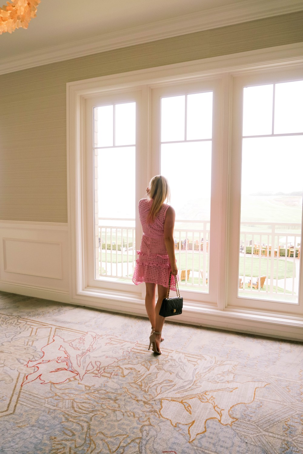 Pink Lace Dress-Borrowed by Design-Chanel Handbag-Self Portrait Pink Lace Dress Lookalike 3