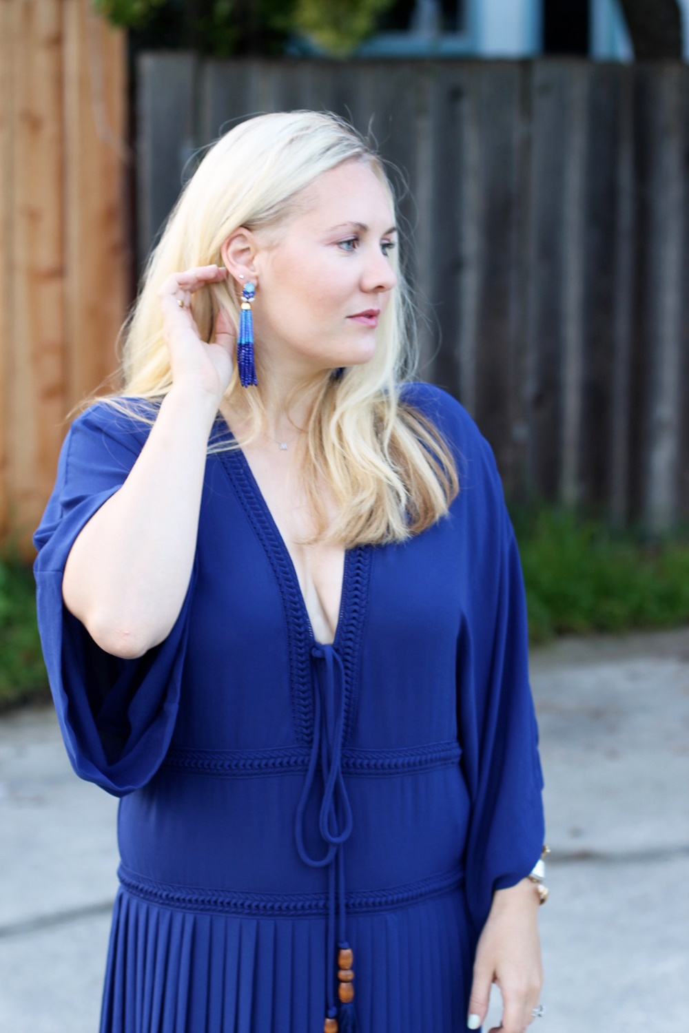 Plunging Neckline Drop Waist Dress-Blue Valentine-Outfit Inspiration-Veronique Branquinho-Have Need Want 3