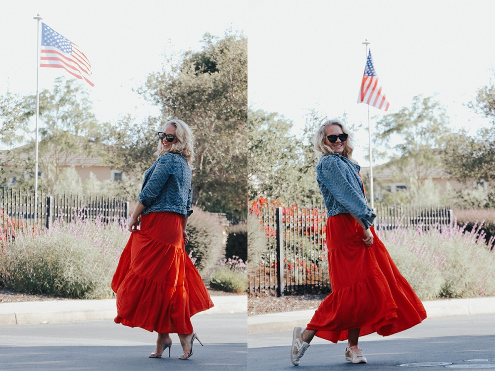 Chic in Every Shade styling a red maxi dress for the 4th of July! Click on over to the post to check out my full look + get the links to every one else's post who participated! #chicineveryshade #haveneedwant #bloggercollaboration #multiplewaystowear #4thofjulystyle #4thofjuly