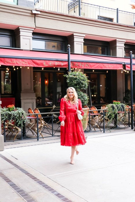The perfect holiday dress by Gal Meets Glam! Wearing this pretty red metallic holiday dress. Head to the blog to get my outfit details. #holidayoutfit #galmeetsglam #holidaydress #reddress #holidaystyle