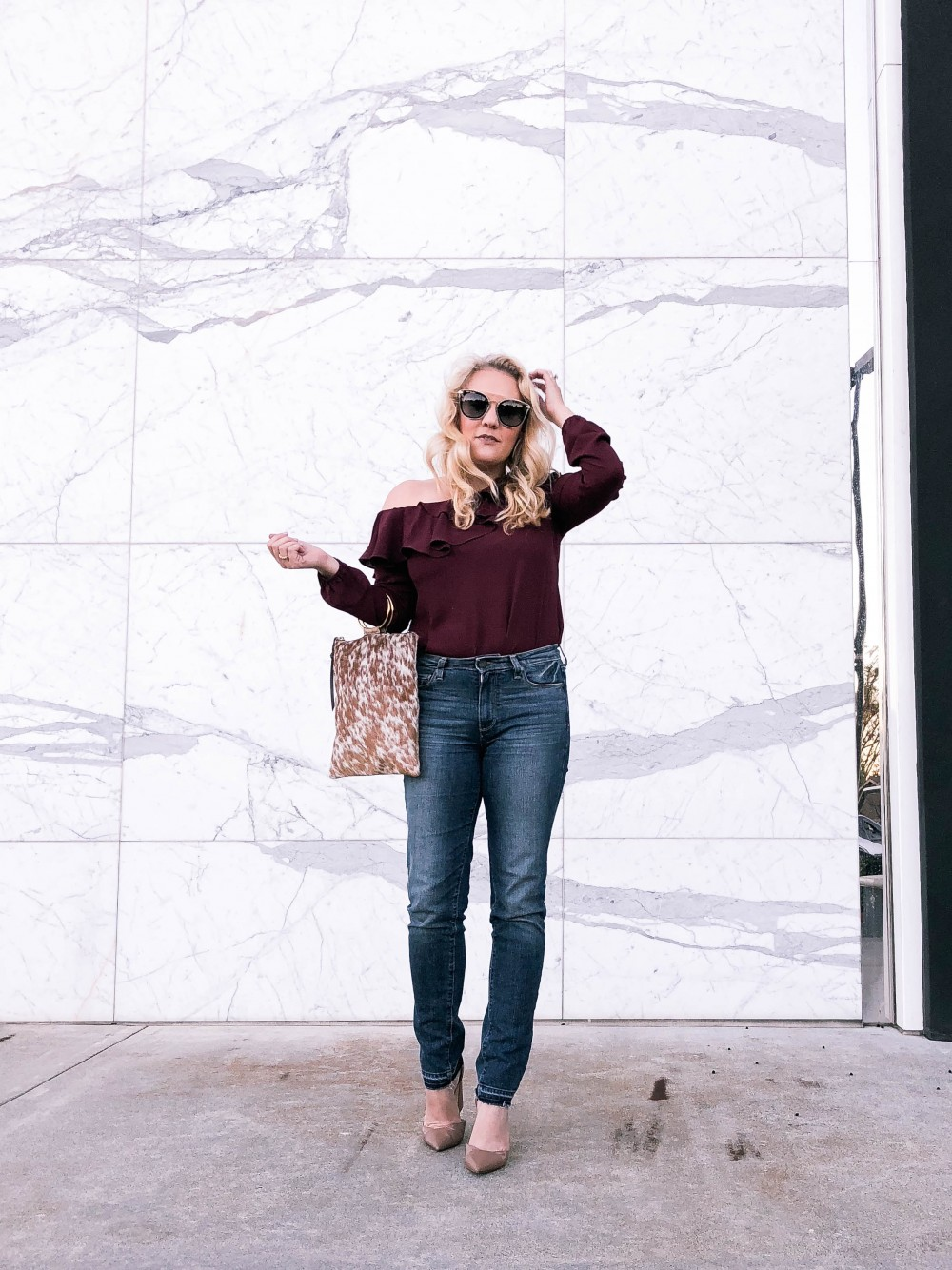 one shoulder ruffle top, Maette by Stella & Dot, Bay Area Fashion Blogger, Outfit Inspiration, Mom Style, DIFF eyewear, Paige Denim, High Waist Jeans, Nine West Chunky Heels