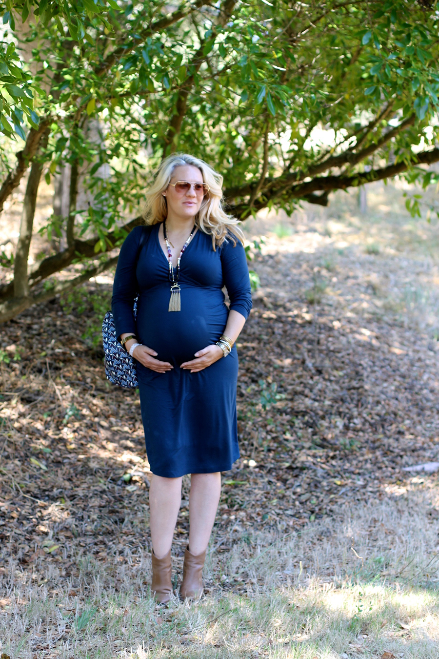 Shirred Dress-Maternity Style-Fashion Blogger-Stella & Dot-Fall Style-Pregnancy Style 2