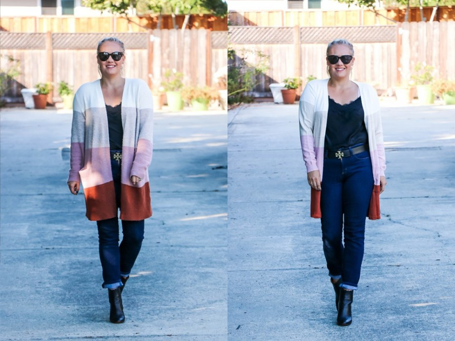 Side by side comparison of this fall color block cardigan on Have Need Want! I found a dupe for the Madewell cardigan I love and so I had to compare. Click on over to the post to read the key differences. #madewellcardigan #fallstyle #falloutfit #amazonfashion