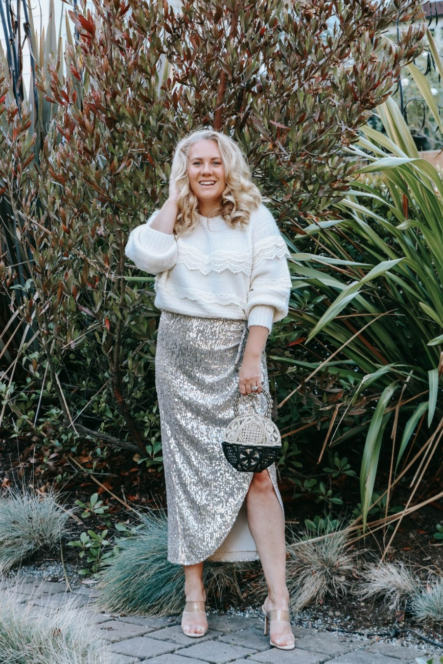 Silver sequin skirt and lace trim sweater for the holidays. Holiday party or holidays at home this skirt is perfect! #holidaystyle #winterstyle #holidayoutfit