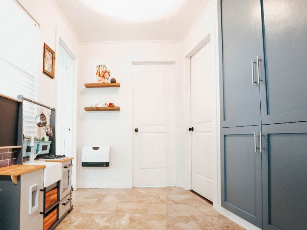 We love home DIY projects and this small room transformation and pantry remodel makes a huge impact in our home. Click on over to the blog to check it out and see the before and afters! #homediy #diyproject #pantryremodel #roomtransformation