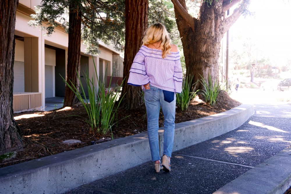 Striped Off-The-Shoulder Poplin Blouse-Parker New York-Summer Style-Outfit Inspiration-Have Need Want-Skinny Boyfriend Jeans-Espadrille Wedges 10