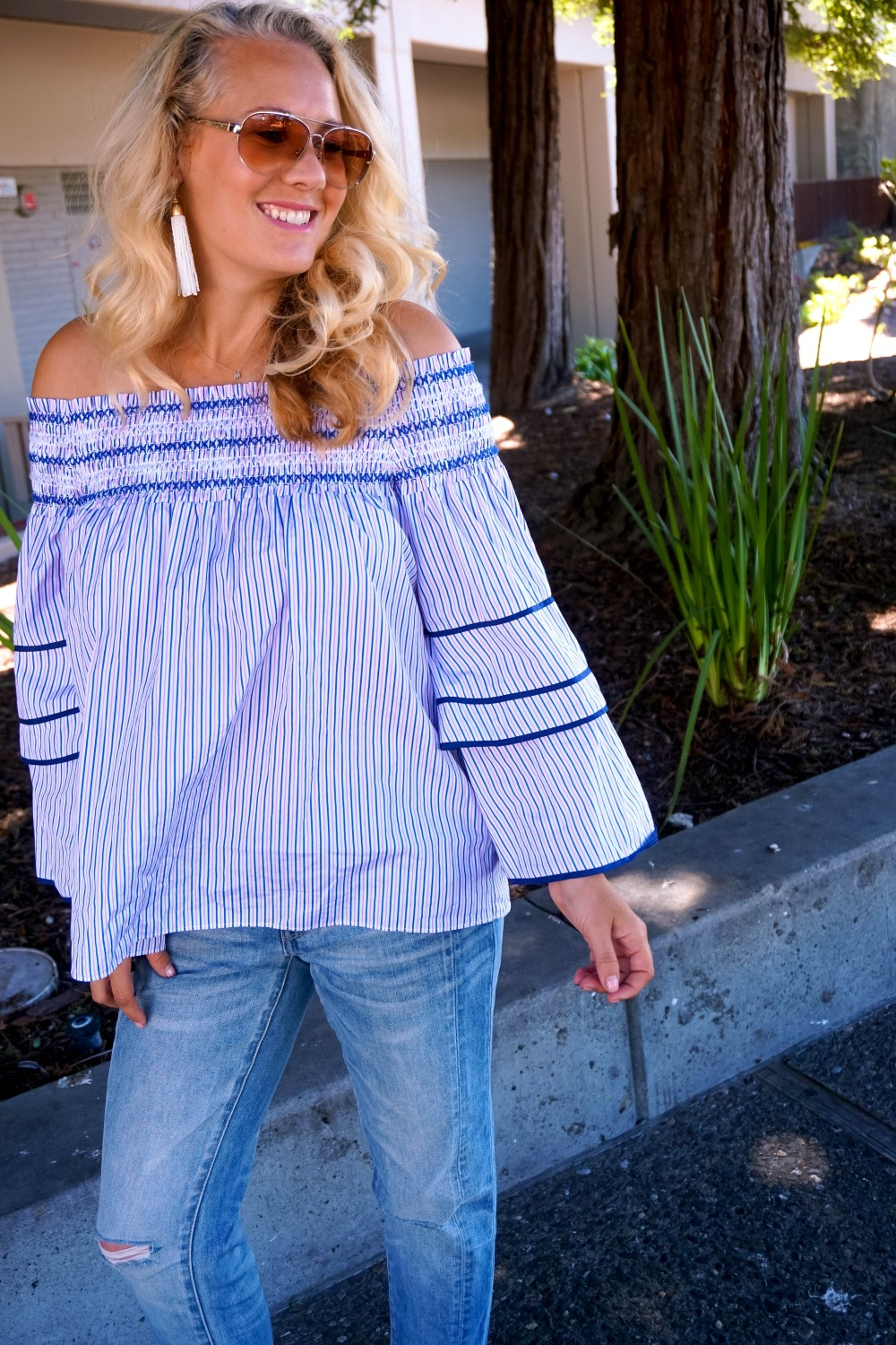 Striped Off-The-Shoulder Poplin Blouse-Parker New York-Summer Style-Outfit Inspiration-Have Need Want-Skinny Boyfriend Jeans-Espadrille Wedges 11