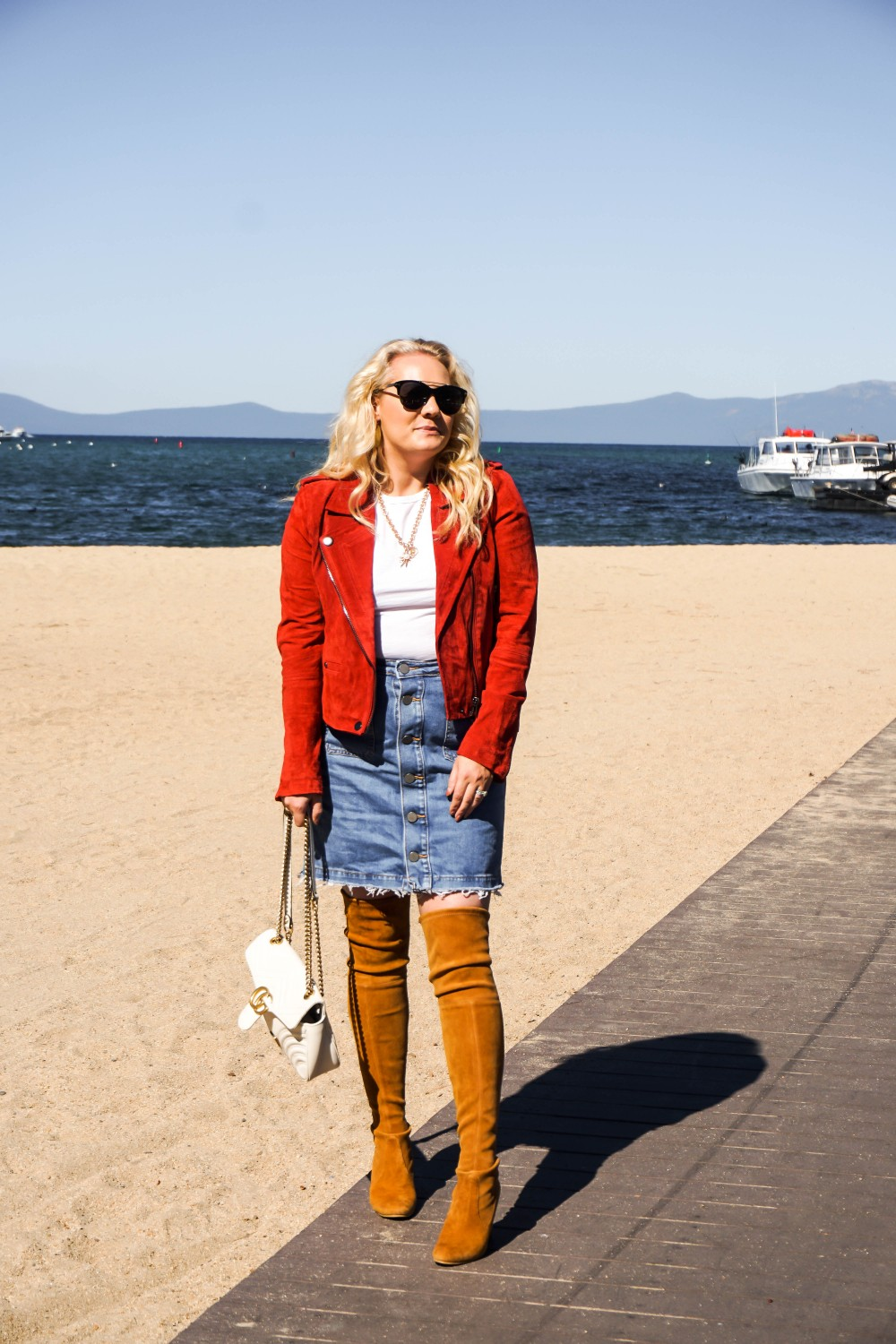 Styling a Denim Mini Skirt for Fall, Fall Outfit Inspiration, OTK Boots, Stuart Weitzman, Suede Moto Jacket, BlankNYC, Denim Mini Skirt, LOFT, Have Need Want