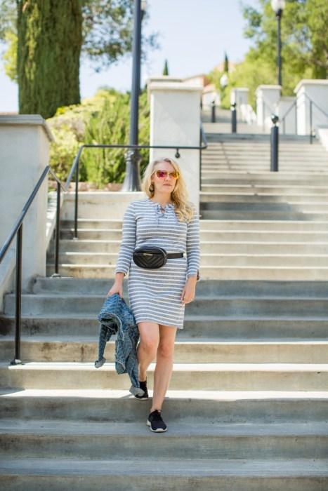 Sweatshirt Dress with a Belt Bag