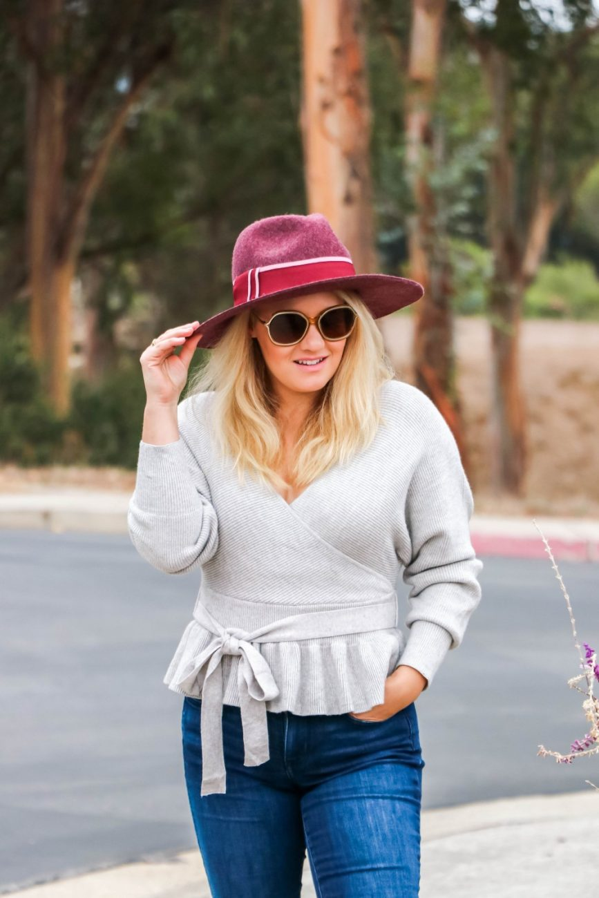 Wearing a felt hat and peplum sweater for fall but could easily transition into a wonderful winter outfit. #peplumsweater #fallstyle #falloutfit #falloutfitideas