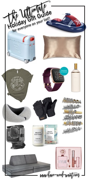 The Ultimate Holiday Gift Guide For Everyone on Your List! Head to the blog to find gifts for everyone, including the hostess, beauty obsessed, glam gurl, outdoorsy guy, travel family, and toddlers. #ultimategiftguide #giftguide #holidaygiftideas