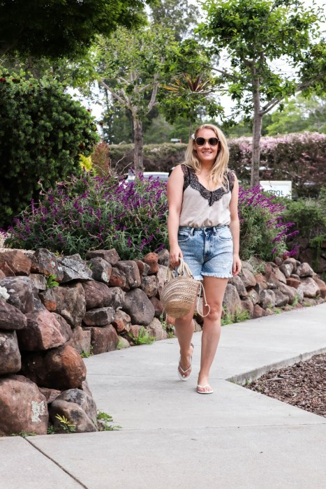 Summer casual in these under $25 high waist denim shorts. Head over to the blog to check out the full post + get my outfit details! #summerstyle #highwaistshorts #amazonfashion #amazonfinds #outfitinspiration