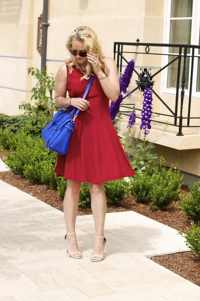 Theory Dress Lizzie Fortunato Kate Spade Handbag Fashion Blogger 4th of July Style Red White and Blue Outfit Inspiration