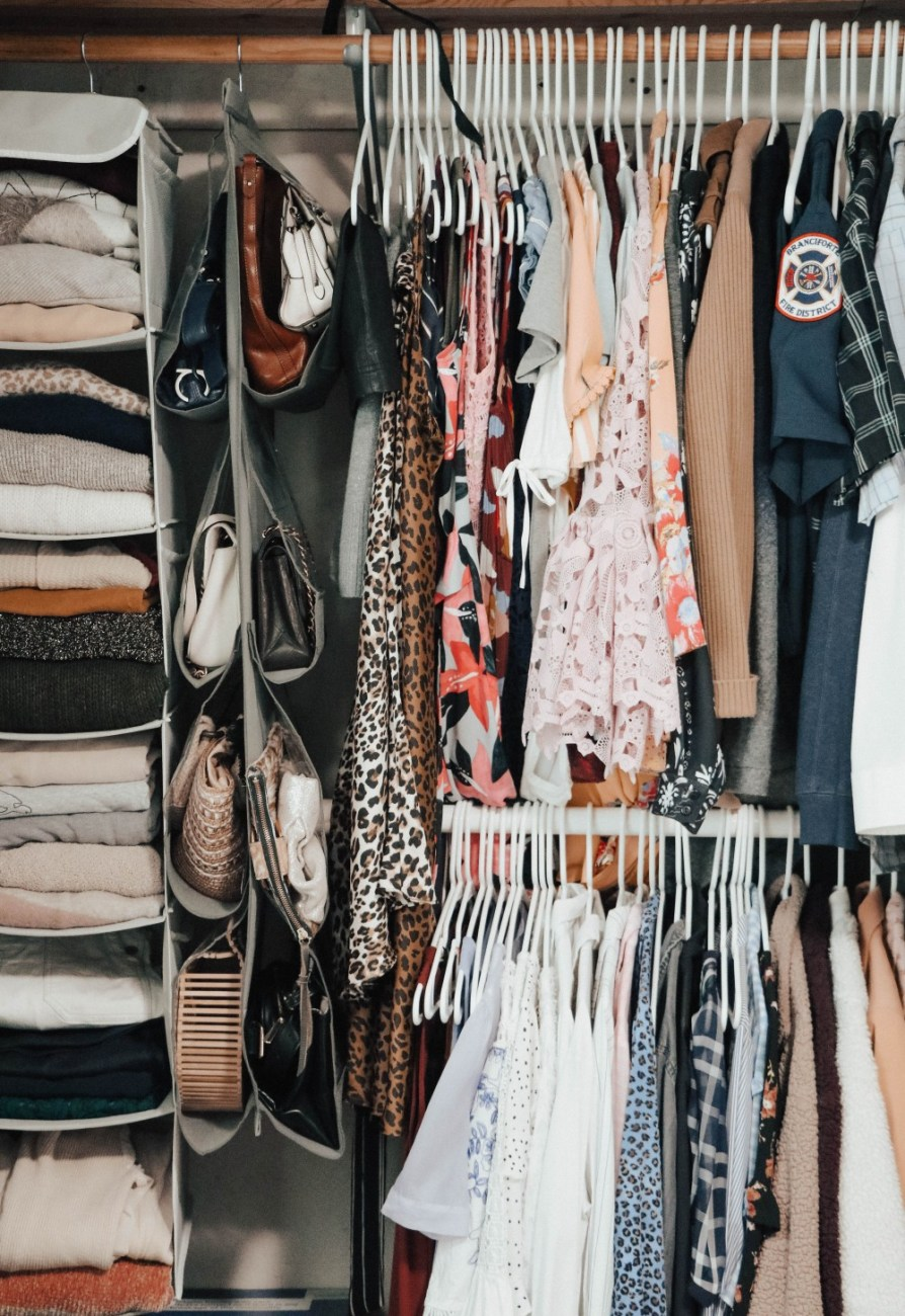 I've been working on organizing my closet this spring cleaning and I love how its turning out. Head to the blog to check out all my home storage and organizing solutions to help you keep your home nice and tidy! #tidyhome #homestoragesolutions #springcleaning #organizedhome #closetorganization