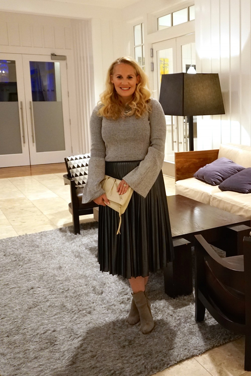 Trumpet Bell Sleeve Sweater-Ted Baker-Who What Wear for Target-Outfit Inspiration-Metallic Pleated Skirt-Steve Madden Suede Boots-Have Need Want 3
