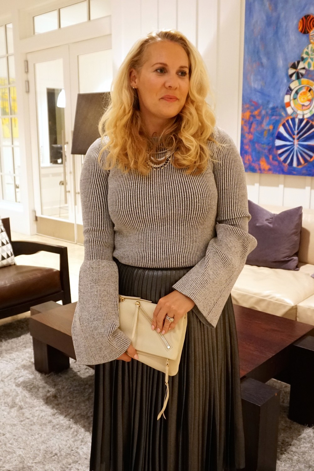 Trumpet Bell Sleeve Sweater-Ted Baker-Who What Wear for Target-Outfit Inspiration-Metallic Pleated Skirt-Steve Madden Suede Boots-Have Need Want 7
