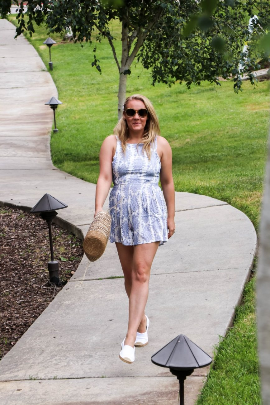 This under $25 rompers the perfect companion for your summer vacation! I love the blue and white print. Head over to the post to get my outfit details and find out where you can shop! #summerstyle #vacationoutfit #amazonfashion #printromper #pearlbarrettes #whiteespadrilles