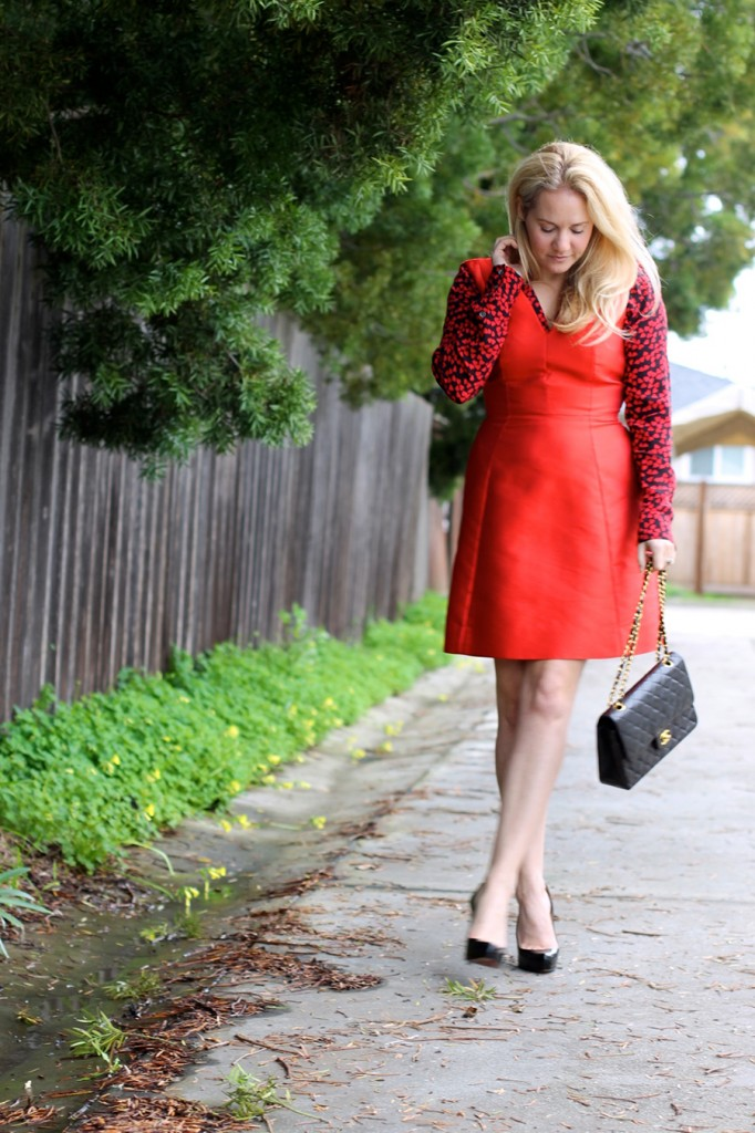 Valentines day date night outfit-Have Need Want-Valentines Day-Hearts and Bows-Kate Spade dress-Equipment blouse-Outfit inspiration 5