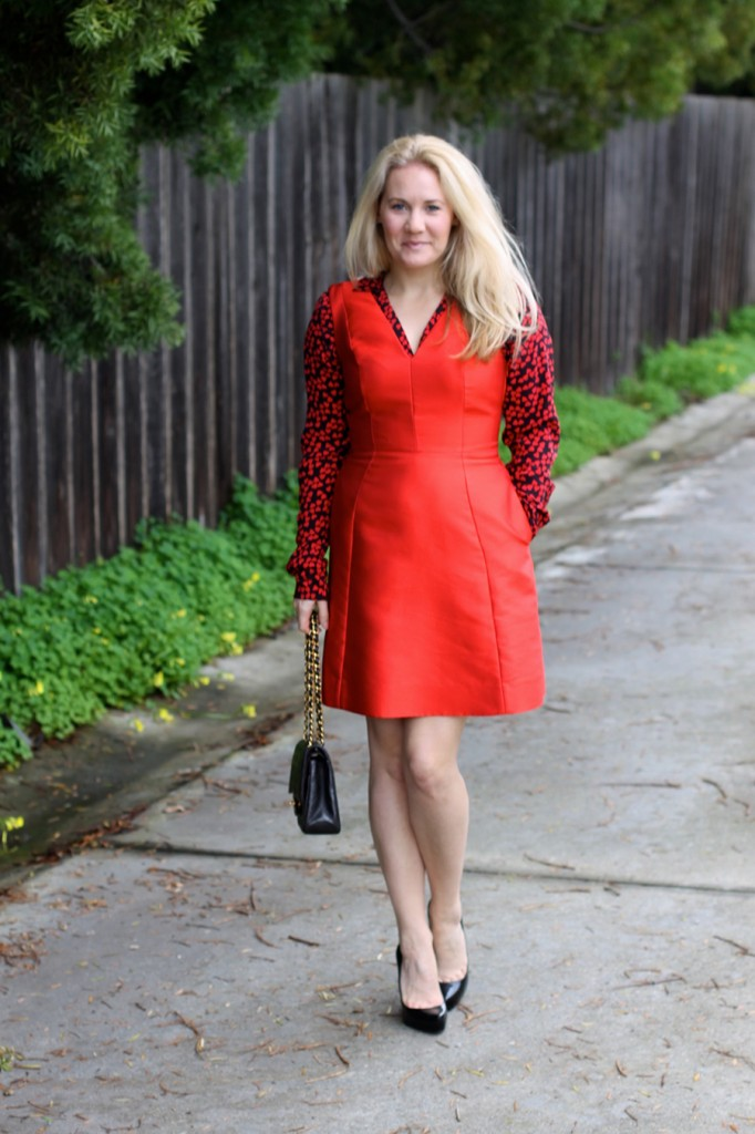 Valentines day date night outfit-Have Need Want-Valentines Day-Hearts and Bows-Kate Spade dress-Equipment blouse-Outfit inspiration