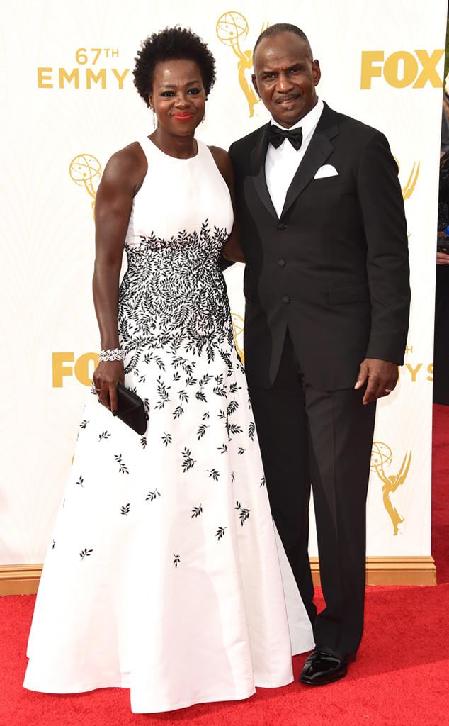 Viola Davis and Julius Tennon-Carmen Marc Valvo-Emmy's Red Carpet-2015 Emmys-Red Carpet Arrivals-Best Dressed