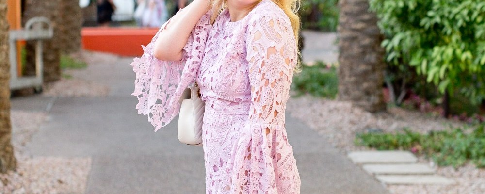 Wedding Guest Ready in the Perfect Lilac Lace Dress