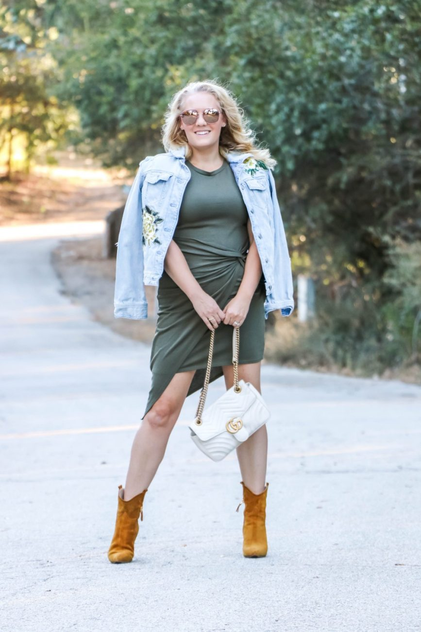 Multiple ways to wear western inspired suede booties. Head on over to the post to check it out + get my outfit details for each look. #outfitinspiration #westernboots #mavetteshoes #falloutfitideas #falloutfitinspiration