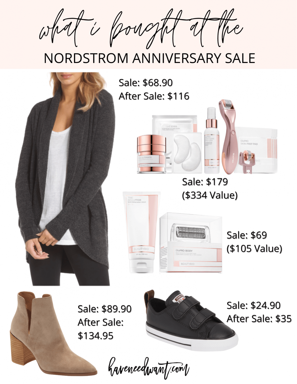 What I actually bought during the Nordstrom Anniversary Sale! Head to the blog to read what I got and what I am hoping for restocks on. #nsale
