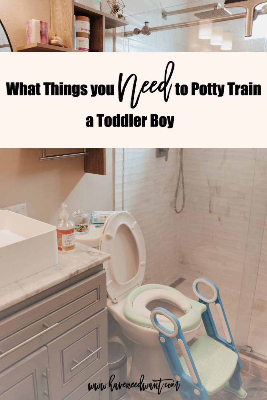 What things you need to potty train a toddler boy on the blog today! Click on over to check out the post and take some of the tree off of potty training! #pottytraining #pottytrainingtips #toddlerboys #pottytrainingboys
