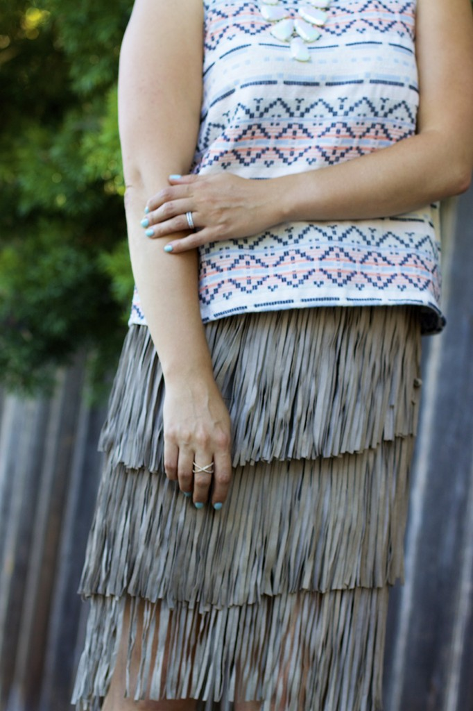 fall 2015 trend finge skirt fringe friday outfit inspiration aztec top matison stone neiman marcus fashion blogger