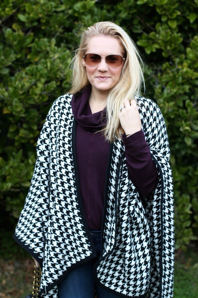 outfit inspiration-chanel handbag-kate spade-winter style-houndstooth ponch 7